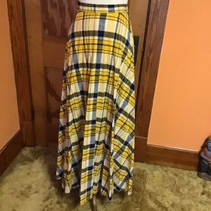 Vintage 70s plaid bright wool long pleated skirt